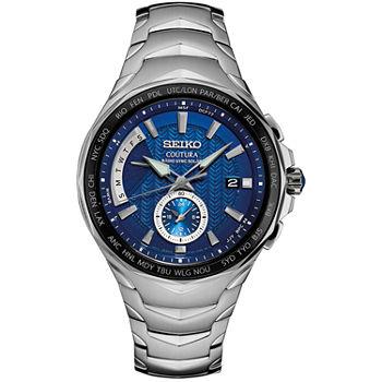 13adb9582 Seiko Coutura Blue Dial Mens Silver Tone Bracelet Watch-Ssg019