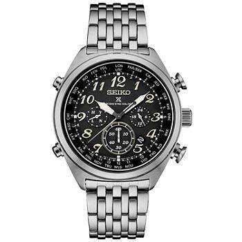 84e849ce050 Seiko Prospex Solar Chronograph Mens Silver Tone Bracelet Watch-Ssg017