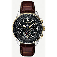 Seiko Prospex Solar Chronograph Mens Brown Strap Watch-Ssc632