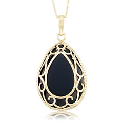 Unisex Black Onyx 10K Gold Pendant Necklace