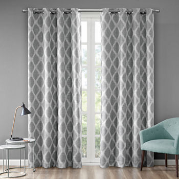 Sunsmart Kagen Ikat Geo Blackout Grommet-Top Single Curtain Panel