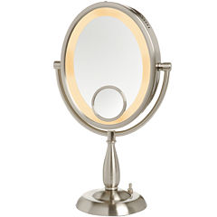 Jerdon Style Lighted Oval Tabletop Mirror