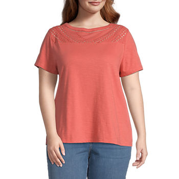 St. John's Bay-Plus Womens Round Neck Short Sleeve Embroidered Blouse