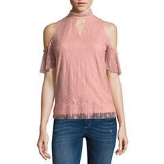 by&by Sleeveless High Neck Lace Blouse-Juniors