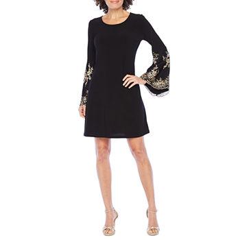 MSK 3/4 Embellished Sleeve Shift Dress