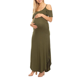 White Mark-Plus Maternity Short Sleeve Maxi Dress