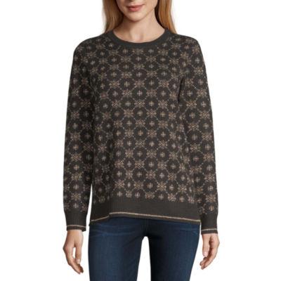 Liz Claiborne Womens Crew Neck Long Sleeve Geometric Pullover Sweater