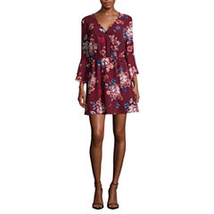 Trixxi Elbow Sleeve Floral Wrap Dress-Juniors