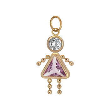 10K Gold June Birthstone Babies Girl Charm