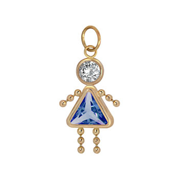 10K Gold September Birthstone Babies Girl Charm