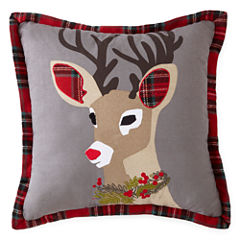 North Pole Trading Co. Tartan Deer Throw Pillow