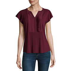 Liz Claiborne Short Sleeve Pleated Split Neck T-Shirt