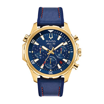 Bulova Marine Star Mens Blue Stainless Steel Bracelet Watch - 97b168