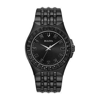 Bulova Phantom Mens Crystal Accent Black Stainless Steel Bracelet Watch - 98a240