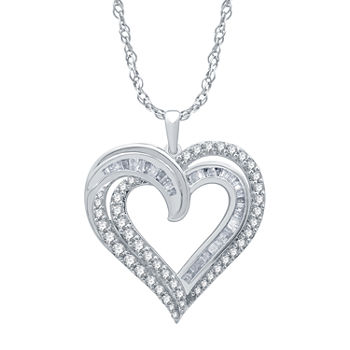 Womens 1 CT. T.W. Genuine Diamond Sterling Silver Heart Pendant Necklace
