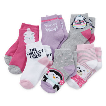 Okie Dokie Toddler Girls 6 Pair Low Cut Socks