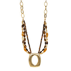 ROX by Alexa Tiger's Eye & Yellow Jade Medallion Pendant Necklace
