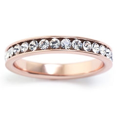 Sparkle Allure Womens Clear 14K Gold Over Brass Eternity Band