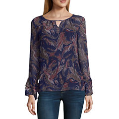 Alyx Long Sleeve Round Neck Woven Paisley Blouse