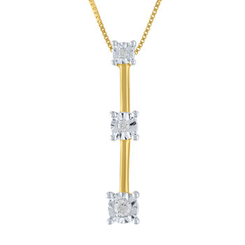 Womens Genuine White Diamond Accent 10K Gold Pendant Necklace