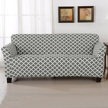 Swell Trellis Stretch Fit Sofa Slip Cover Gamerscity Chair Design For Home Gamerscityorg
