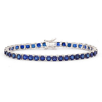 Lab Created Blue Sapphire Sterling Silver 7.25 Inch Tennis Bracelet