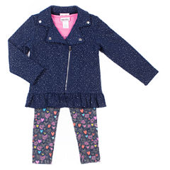 Little Lass Navy Sparkle Moto Jack with Long Sleeve Graphic Top and Legging Set- Preschool Girls