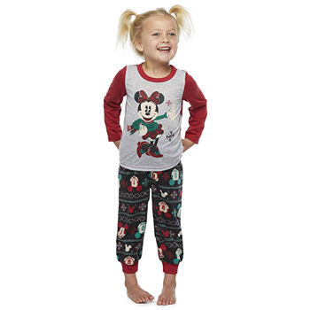 Disney Collection Toddler Girls 2-pc. Minnie Mouse Christmas Pajama Set
