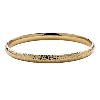 Infinite Gold™ 14K Yellow Gold Hollow Diamond-Cut Bangle