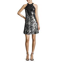 Speechless Sleeveless Halter All-Over-Sequin A-Line Dress - Juniors
