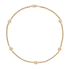 10K Yellow Gold Faceted Bead Ankle Bracelet