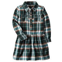 Carter's Long Sleeve Plaid A-Line Dress - Toddler Girls