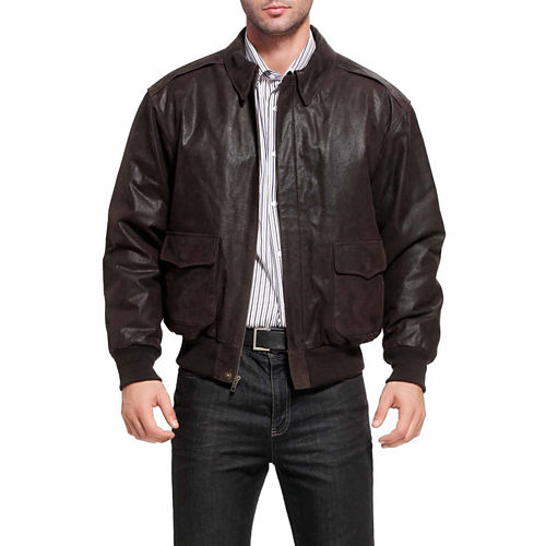 Landing Leathers Men's A-2 Distressed Goatskin Leather Flight Bomber Jacket - Big and Tall