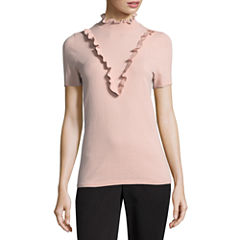 Worthington Short Sleeve High Neck Pullover Sweater