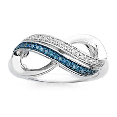 Infinite Promise 1/10 CT. T.W. White & Color-Enhanced Blue Diamond Ring