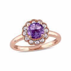 Womens Genuine Purple Amethyst 10K Gold Cocktail Ring