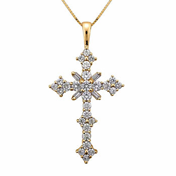 1 1/2 CT. T.W. Certified Diamond 14K Yellow Gold Cross Pendant Necklace