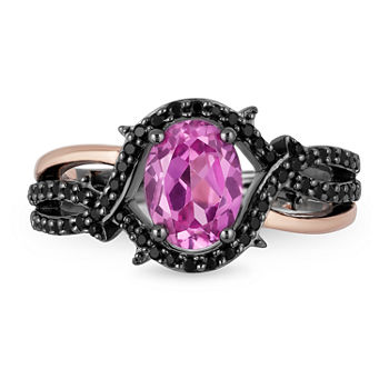 Enchanted Disney Fine Jewelry Villains Womens 1 4 Ct T W Lab Created Pink Sapphire 14k Rose Gold Over Silver Maleficent Cocktail Ring