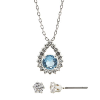 Sparkle Allure Sparkle Allure Champagne and White Cubic Zirconia Stud Earring and Necklace Set gg8DdZrcmZ