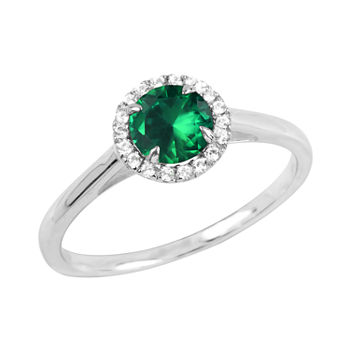 Womens Lab Created Green Emerald Sterling Silver Halo Cocktail Ring
