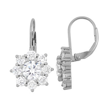 3 1/2 CT. T.W White Cubic Zirconia Sterling Silver Snowflake Drop Earrings