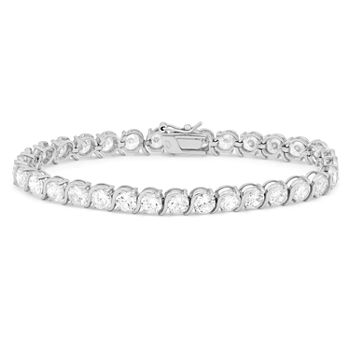 White Cubic Zirconia Sterling Silver 7.5 Inch Tennis Bracelet