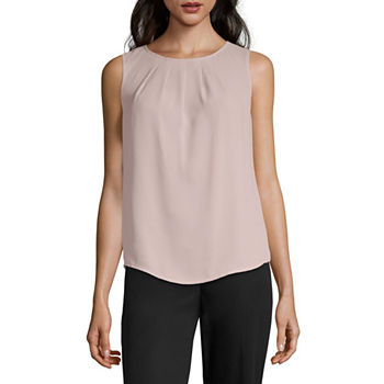 Worthington Womens Round Neck Sleeveless Tank Top