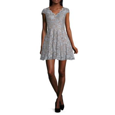 City Triangle Short Sleeve Fit \u0026 Flare Dress,Juniors