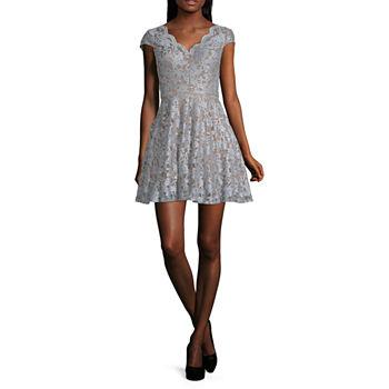 City Triangle Short Sleeve Fit & Flare Dress-Juniors