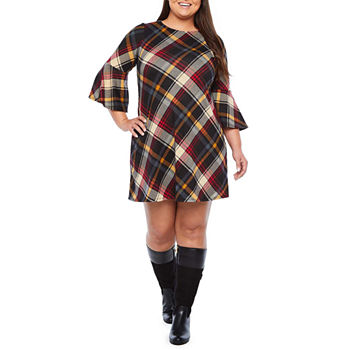 Jessica Howard 3/4 Bell Sleeve Plaid Shift