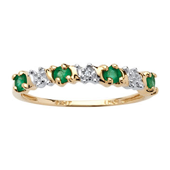 2MM Diamond Accent Genuine Green Emerald 10K Gold Band
