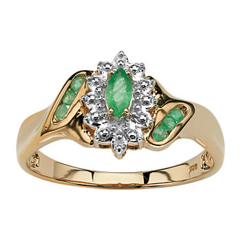 Womens Diamond Accent Genuine Green Emerald 18K Gold Over Silver Cocktail Ring