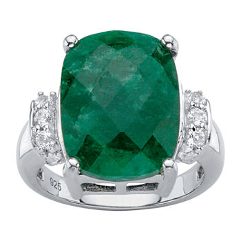 Womens Genuine Green Emerald Sterling Silver Cocktail Ring