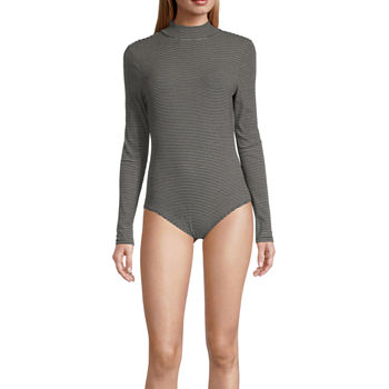 Self Esteem Womens Mock Neck Long Sleeve Bodysuit-Juniors